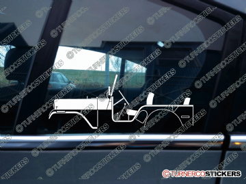 2x Car Silhouette sticker - 1954 Willys Jeep CJ-5 vintage classic